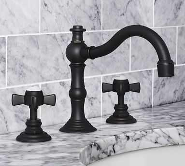 Langford Cross-Handle Widespread Bathroom Faucet, Antique Bronze Finish - Pottery Barn