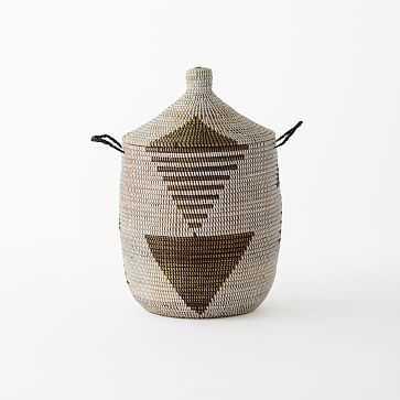 Graphic Printed Basket, Black/White, Medium - West Elm