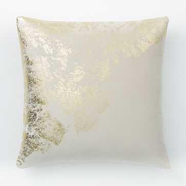 """Velvet Metallic Sandstone Pillow Cover, 20""""x20"""", Stone - West Elm"""