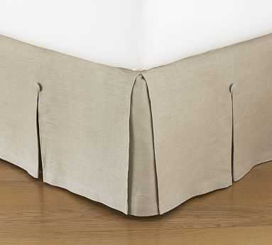 """Pleated Button Bed Skirt, 18"""" Drop, King, Linen Natural - Pottery Barn"""