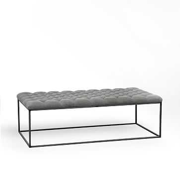 Tufted Ottoman - Stone Washed Granite - West Elm