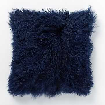 """Mongolian Lamb Pillow Cover, 16""""x16"""", Velvet Ink - West Elm"""