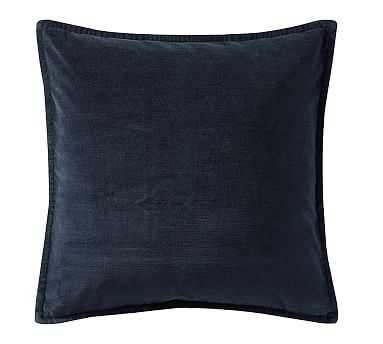"Washed Velvet Pillow Cover, 20"", Midnight Blue - Pottery Barn"