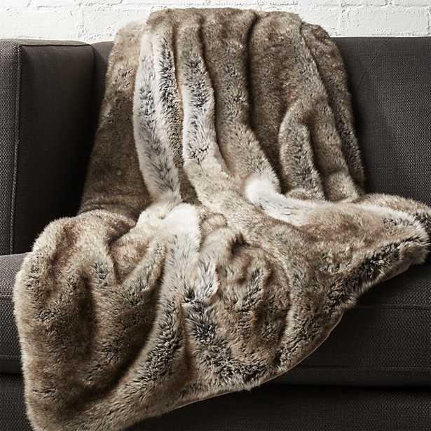 light grey faux fur throw - CB2