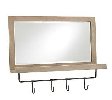 Lucy Entry Collection, Mirror w/ Hooks, Light Wood/Black Metal - Pottery Barn