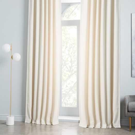 Worn Velvet Curtain, ivory , unlined - West Elm