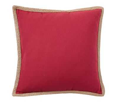 """Synthetic Trim Indoor/Outdoor Pillow, 20"""", Cherry Red - Pottery Barn"""