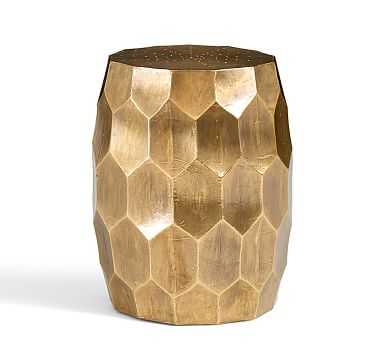 Vince Metal Foil Accent Stool, Brass - Pottery Barn