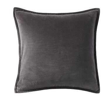 "Washed Velvet Pillow Cover 20 x 20"", Ebony - Pottery Barn"