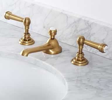 Reyes Lever-Handle Widespread Bathroom Faucet, Antique Brass Finish - Pottery Barn