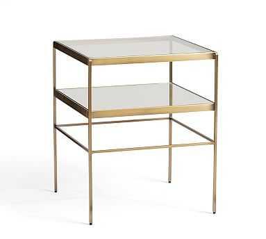 Leona Metal Cube Table, Brass - Pottery Barn