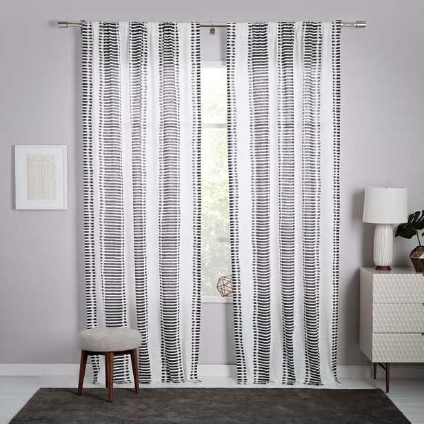 """Striped Ikat Curtain - Slate 96"""" - West Elm"""