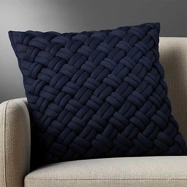 """20"""" jersey interknit navy pillow with down-alternative insert"" - CB2"