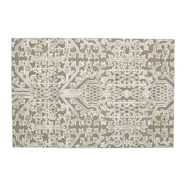 Florian Grey Wool-Blend 6'x9' Rug - Crate and Barrel - Crate and Barrel