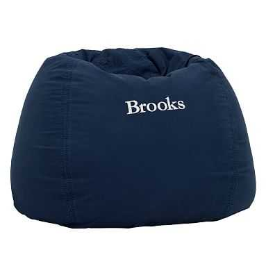 Navy Washed Twill Large Beanbag Slipcover + Beanbag Insert - Pottery Barn Teen