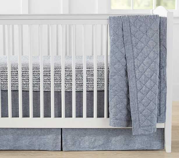 Belgian Flax Linen Baby Bedding - Quilt, Indigo - Pottery Barn Kids