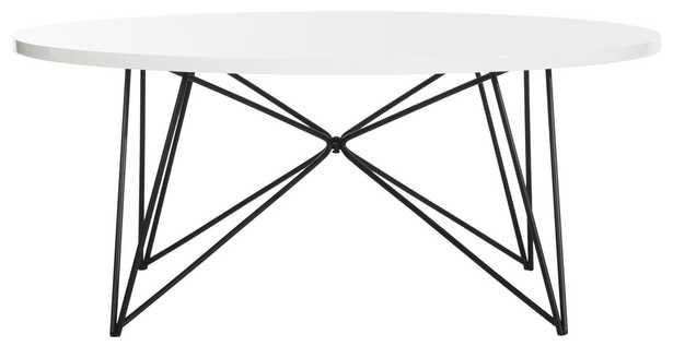 MARIS RETRO MID CENTURY ROUND COFFEE TABLE - WHITE - Arlo Home