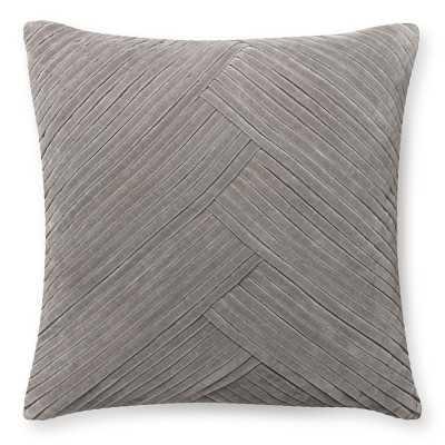 "Pleated Velvet Pillow Cover, 22"" X 22"", Steeple Grey - Williams Sonoma"