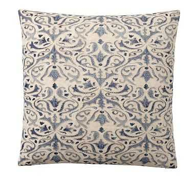 """Reilley Embroidered Pillow Cover, 22"""", Blue - Pottery Barn"""