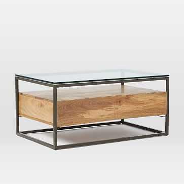 Box Frame Storage Coffee Table - Raw Mango / Antique Bronze - West Elm