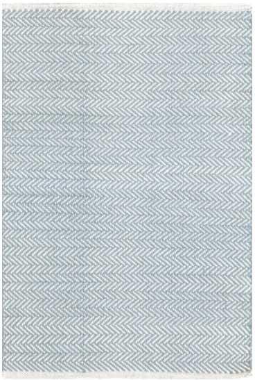 HERRINGBONE SWEDISH BLUE WOVEN COTTON RUG - 8' x 10' - Dash and Albert