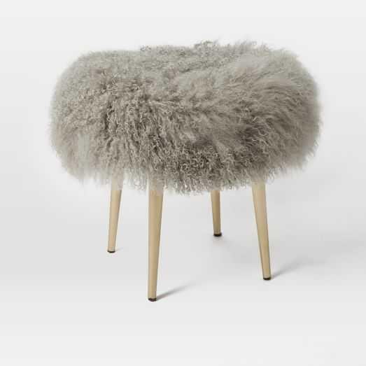 Luxe Fur Stool PLATINUM - West Elm
