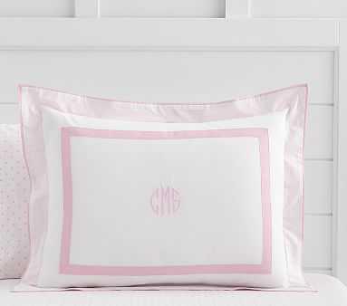 Decorator Solid Border Duvet Cover, Standard Sham, Pale Pink - Pottery Barn Kids