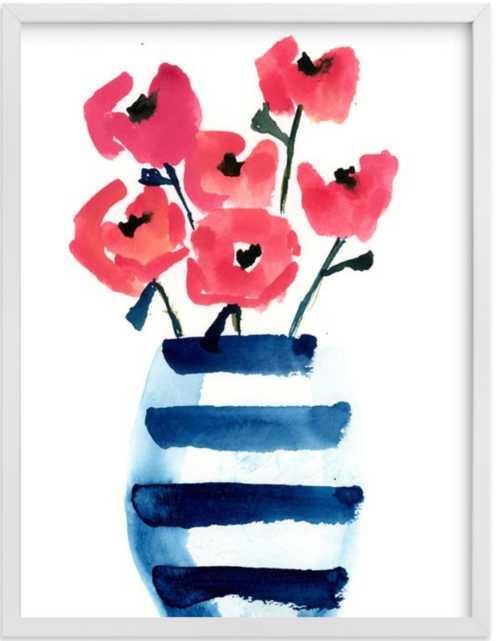 "Striped Vase -White Wood Frame - 16""x20"" - Minted"