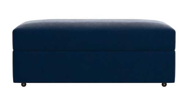 Lounge II Storage Ottoman with Casters- NAVY - Crate and Barrel