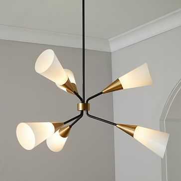 Conical Branching Chandelier, 6-Light Bronze/Brass - West Elm