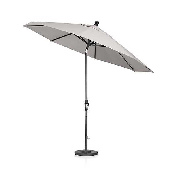9' Round Sunbrella ® Silver Patio Umbrella with Tilt Black Frame - Crate and Barrel