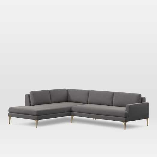 Andes Terminal Chaise Sectional, extra Large, Left Terminal Chaise 2 Piece Sectional,Marled Microfiber, Heather Gray blackened brass , Standard Depth - West Elm