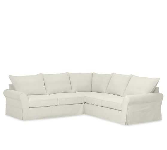 PB COMFORT ROLL ARM SLIPCOVERED 3-PIECE L-SHAPED SECTIONAL WITH CORNER - Pottery Barn