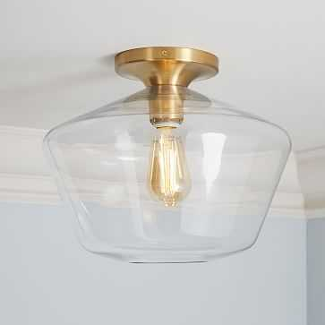 Sculptural Glass Geo Flushmount, Large, Clear Shade, Brass Canopy - West Elm