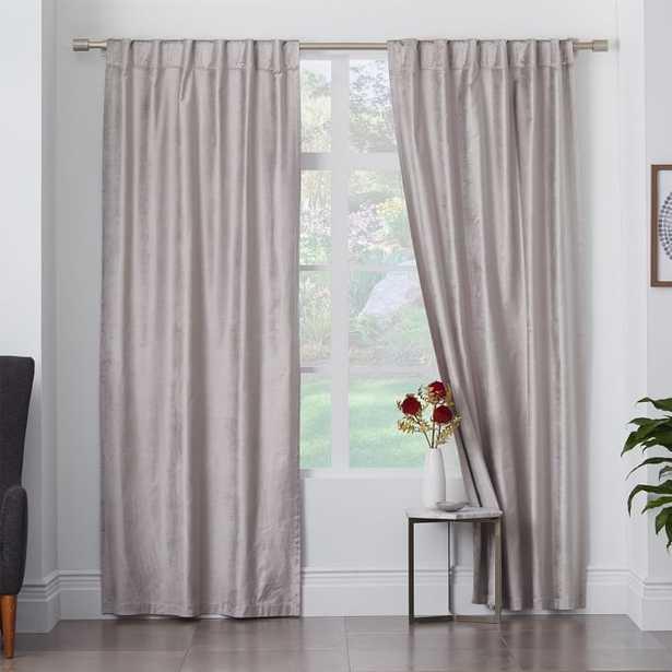 Cotton Luster Velvet Curtain - Platimun, single panel - UNLINED - West Elm