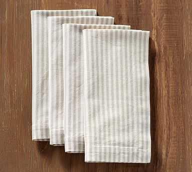 Wheaton Stripe Napkin, Set of 4 - Flax - Pottery Barn