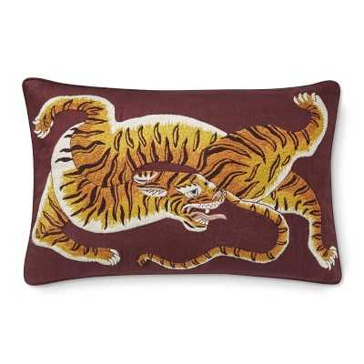 """Dharma Tiger Embroidered Lumbar Pillow Cover, 14"""" X 22"""", Maroon Red - Williams Sonoma"""