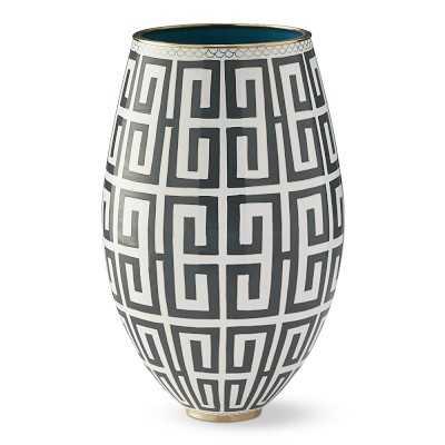 Cloisonne Vase, Greek Key, Large, Charcoal - Williams Sonoma