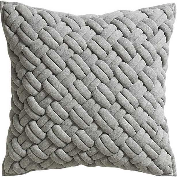 "20"" jersey interknit grey pillow with down-alternative insert - CB2"