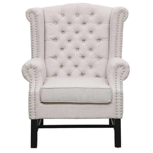 Isabel Beige Linen Club Chair - Maren Home