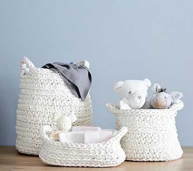 Chunky Knit Small Basket, Ivory - Pottery Barn Kids