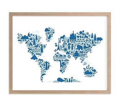 Little Big World Map Wall Art by Minted(R) 40x30, Natural - Pottery Barn Kids
