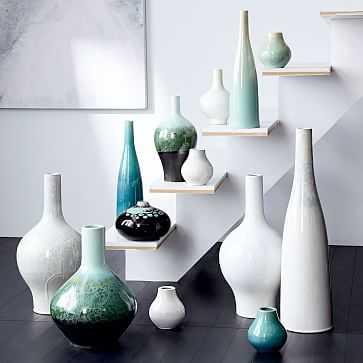 """Reactive Glaze Vase, Medium, 16"""", Turquoise - West Elm"""
