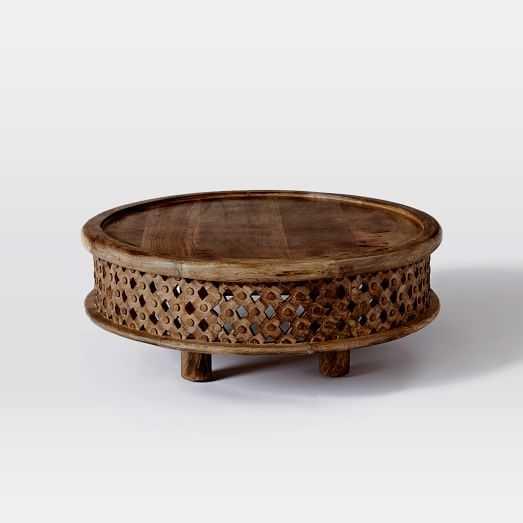 Carved Wood Coffee Table, Raw Mango - West Elm