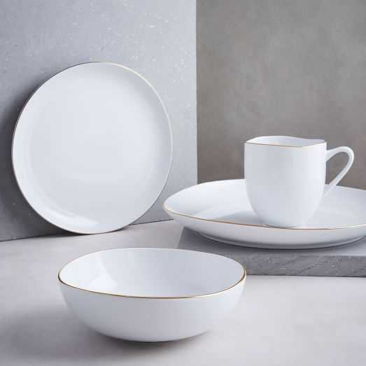 Organic Shaped Dinnerware Set - Metallic Rimmed Set Of 16 Dinnerware Set - West Elm