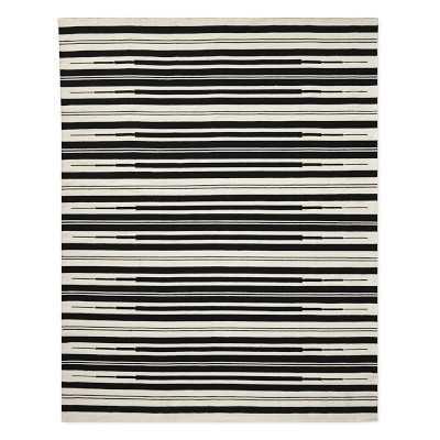 Aura Stripe Indoor/Outdoor Rug, 6x9', Black - Williams Sonoma