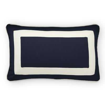 """Sunbrella Outdoor Solid Lumbar Pillow Cover with White Border, 14"""" X 22"""", Navy - Williams Sonoma"""
