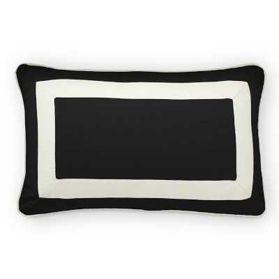 "Sunbrella Outdoor Solid Lumbar Pillow Cover with White Border, 14"" X 22"", Black - Williams Sonoma"