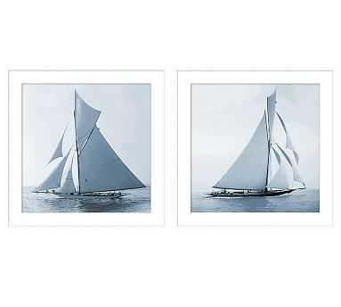 "Blue Sails Print, 25 x 25"", Set of 2 - Pottery Barn"