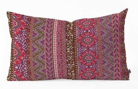 Farah Stripe Red Oblong Throw Pillow - Wander Print Co.